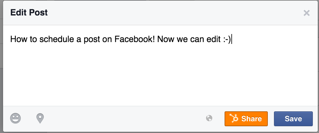 Editing a scheduled Facebook post